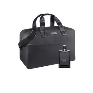 Jimmy Choo Black Leather Weekender Travel Bag NWT